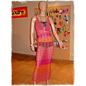 Vestido Largo Tejido A Crochet - L/xl