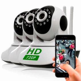 Kit 3 Cameras Ip Hd 720 Wifi Sem Fio Controle Celular C/ 3g