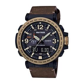 Casio Mens Pro Trek Quartz Resin And Leather Casual Watch, C
