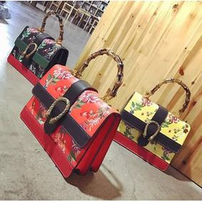 Bolsa Inspirada Na Gucci Floral Couro Todo Bordado