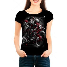 Camiseta Babylook Feminina Caveira Motoqueiro Fantasma 02