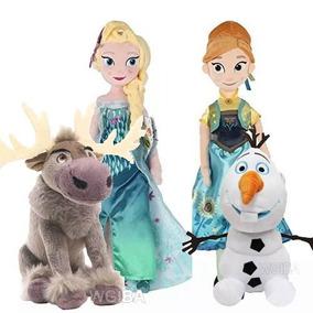 Kit 4 Pelucias Frozen Musicais Elsa E Anna 45 Cm + Olaf Sven