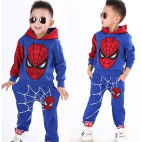 Conjunto Azul Pantalon+chaqueta Capucha Spiderman Hombre Ara