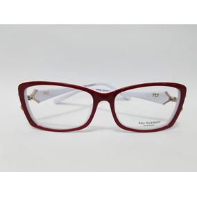 Armação De Óculos Ah Clássica Vira Haste Vermelha/branca