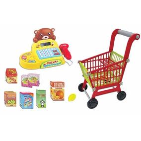 Mercado Infantil Caixa Registradora + Carrinho De Compras