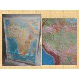Antiguo Mapa Entelado Fisico De Africa