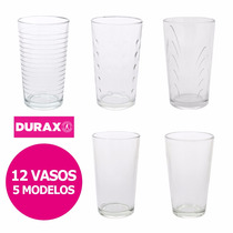 Set 12 Vasos Vidrio Durax Conicos Transparentes - 5 Modelos