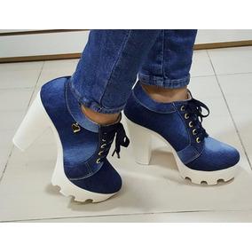 Botín Plataforma Zapatos De Tacón Color Jeans Azul Oscuro