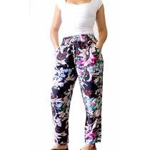 Pantalon Fibrana Y Viscosa, Estampados Amplios Comodos