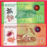Lot De 2 Billetes De Nicaragua 10/20 Cordobas 2015 Unc. Mlc