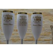 150 Taça Champanhe Champagne Borda Dourada Personalizadas