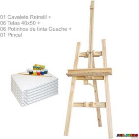 Kit Pintura C/ Cavalete De Chão+tinta+06 Telas+pincel