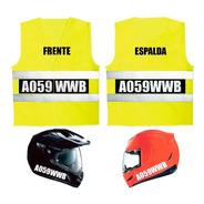 Chaleco Moto Patente + 4 Calcos Para Casco Todo Reflectivo