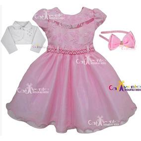 Vestido De Festa Infantil Princesa Rosa De Inverno Com Tiara