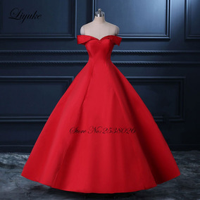 Vestido De Noiva 23948 Luxo Vermelho Chique Setim Baile