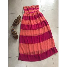 Maxi Vestido Playa Gasa Transparente L Rosa Bebe Naranja
