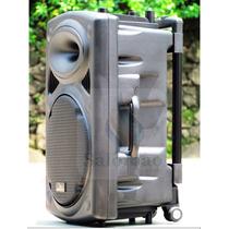 Caixa De Som Rodinha/microfone/bateria/bluetooth