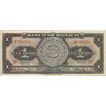 Billete De 1 Peso Calendario Azteca 1961