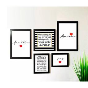 Conjunto Kit 5 Quadros Amor Família Paz Frases Sala Promoção