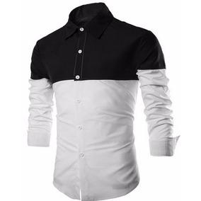 Camisa Masculina Slim Fit Raglan C Bicolor Black & White Lg