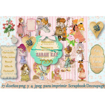 Kit Imprimible P/diseñar Servilletas Sarah Kay Decoraciòn
