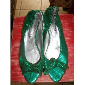 Zapatos Peep-toe Cuero Verdes Metalizados Viento Y Marea 38