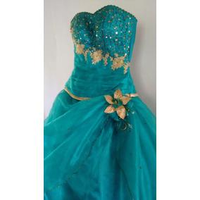 Vestido De 15 Años. Verde Esmeralda/jade (ajustable)