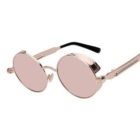 Óculos Sol Redondo Circular Vintage Lente Rosa High Quality