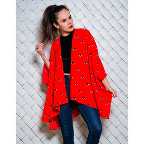 Kimono Cover Up Salida De Playa Estampado Rojo Ojos Pareo