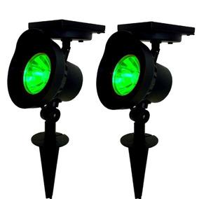 2 Refletor Solar Luminária Jardim Luz Verde 15x Mais Forte