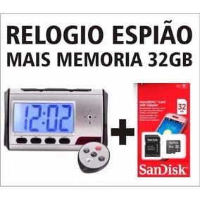 Relógio Espião Micro Câmera Espiã Segurança Mesa + 32gb Card