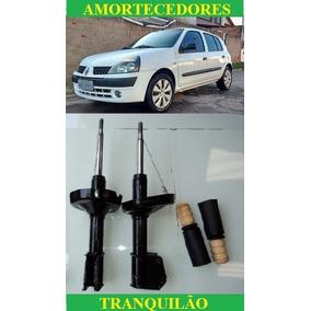 Par De Amortecedor + Kit Batente Dianteiro Renault Clio 1.0