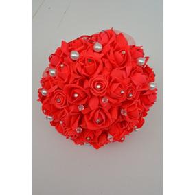 Ramo Rojo Artificial Novia Xv Cristales Grande Diam. 25cm