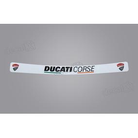 Adesivo Capacete Viseira Refletivo Ducati Corse Branco Vis02
