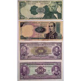 Lote 4 Billetes Venezuela 10 Y 20 Bolivares - Diferentes