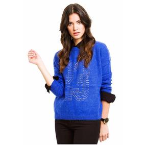 47 Street Sweater De Lana Color Azul Con Aplique