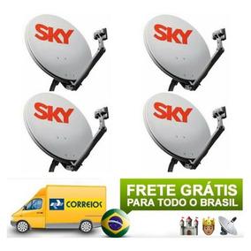 05 Kit Antenas Sky + Lnb Duplo Faixa Larga + Cabo