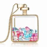 Colar Medalhão Quadrado De Vidro C Corações De Cristal