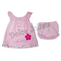 Oferta ! Vestido Gabardina Y Bombachon Algodon Beba 0-3 Años