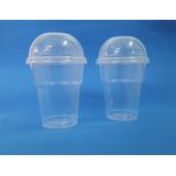 Vaso Plástico Frappé Descartable 250 Ml + Tapa Domo (x 100)