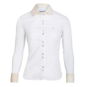 Camisa Camisas Feminina Perolada Manga Longa Slim Promoção