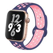 Pulseira De Silicone Para Apple Watch 38/40mm Azul Com Rose