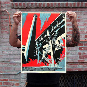 Poster Serigrafia Shepard Fairey Fossil Factory Obey Giant