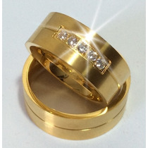 Alianças De Casamento Noivado Anatômicas Banhada Ouro 5cz