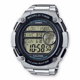Reloj Casio Ae3000wd, Manilla Acero Hora Mundial, 5 Alarmas