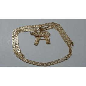 Cadena Tejido Egipcio Diamantado Y Metralleta Oro Laminado