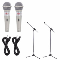 2 Microfones + 2 Pedestal Profissional C/ Cachimbo + Cabos