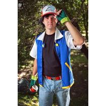 Fantasia Pokémon Ash Adulto 4 Pçs - Frete Gratiz