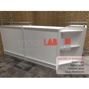 Balcão Caixa Pacote Expositor Para Loja - Mdf Branco 15mm