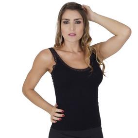 Camisete Click Chique Canelado Sem Costura Com Detalhes Em R